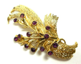 Vintage Brooch Gold Purple Rhinestones Modern Spray Costume Nature Glamour