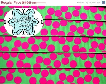 "ON SALE until May 31 Hot pink silly dots printed on lime green 7/8""  grosgrain ribbon-High Quality"