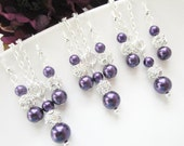 Set of 3 Bridesmaids Jewelry, Purple Bridesmaid Jewelry,Bridesmaid Earrings And Necklace Sets Three, Purple Pearl Earrings, Purple Necklace