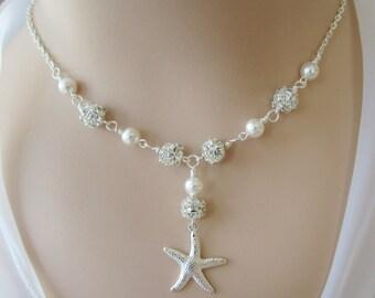 Starfish Necklace,Beach Nautical Jewelry,Destination Wedding Jewelry,Bridal Necklace,Silver Starfish,Bridesmaid Jewelry,Bridesmaid Necklace