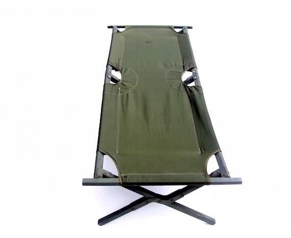 Vintage Army Cot 1960s Military Canvas Cot Folding Camp Bed