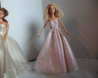 Ball Gown Pink Glitter Chiffon over Ivory Satin for 11 1/2 inch dolls, Doll Clothes, Ready To Ship