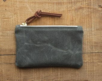 The MINI Pouch in SEA GREEN  //  waxed canvas pouch bag purse wallet