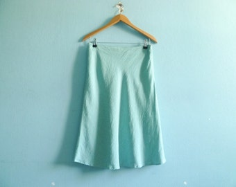 Vintage gingham skirt / check checkered / seafoam green white / summer skirt / high waist / wiggle / fitted / midi / medium