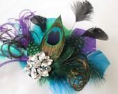 Teal & Purple Peacock Fascinator, Bridal Feather Hair Piece, Wedding Head Piece, Birdcage Veil, Kentucky Derby, Royal Ascot
