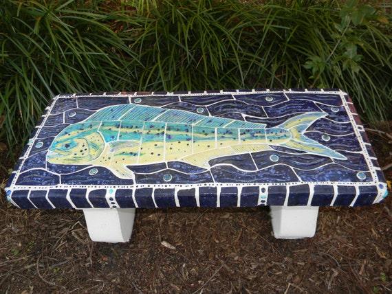 Mahi Mahi Fish Art Concrete Garden Bench Mosaic By Fishnstuff