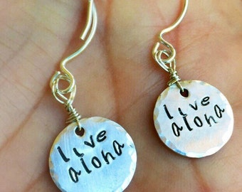 Aloha Jewelry, Live Aloha Earrings, Sterling Silver Earrings, Hawaiian Earrings, Live Aloha Jewerly, Wedding Earrings, Hawaiian Wedding,
