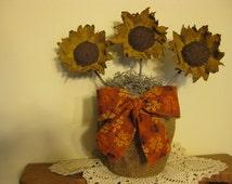 """Primitive Sunflower Centerpiece in Burlap """"Flower Pot"""" - Fabric Sunflower Bouquet - Spring/Summer/Fall - Table Decor - Flower Arrangement"""