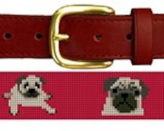 Preppy Pug Needlepoint Belt Canvas