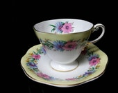 "Foley of England Yellow Background ""Cornflower"" Bone China Cup and Saucer"