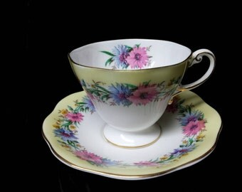 """Foley of England Yellow Background """"Cornflower"""" Bone China Cup and Saucer"""