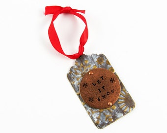Snowflake Ornament in Rustic, Cottage Chic Style for Christmas (Let It Snow)