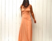 Vintage Maxi Dress 1960s Spaghetti StrapPeach Pink Floor Length Boho Hippie Gown Small