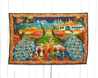 Velvet Tapestry 60s Vintage Wall Hanging Large Turkish Peacock Birds and Landscape