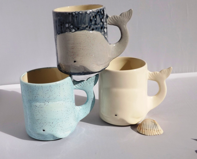 Whale mug handmade large ceramic coffee mugs from my for Clay mug ideas