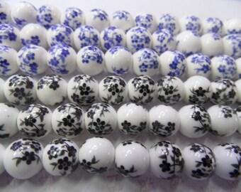 6MM/8MM/10MM/12MM/14MM/16MM Round Black and Blue Plum Flower Ceramics Beads 15L'' Wholesale Ceramic Beads