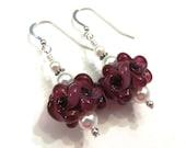 Raspberry Floral Lampwork Earrings With Swarovski Pearls, Glass Earrings, Lampwork Jewelry, Pearl Earrings