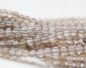 One Full Strand / 12 Inches / Grey Agate / Semiprecious Stone / Gemstone / 8mm (24A//M596)