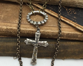 Layered Cross Necklace Vintage Assemblage Necklace ooak rhinestone crucifix repurposed
