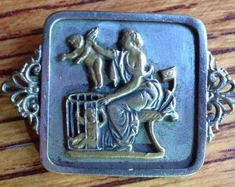 Vintage Art Medal Brooch of Nurse with Baby Angels Jewelry