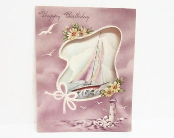 Mauve/Violet Sailboat Birthday Card, Unused Vintage Birthday Card, Art Deco Birthday Card, Sailor Birthday Card, Art Nouveau Paper Ephemera