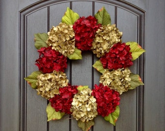 Hydrangea Wreath Fall Wreath Christmas Holiday Grapevine Door Wreath Red Green Hydrangea Floral Door Decoration Indoor Outdoor