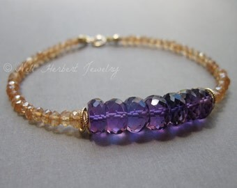 February Birthstone Bracelet, Amethyst and Champagne Quartz Gemstone Bracelet in 14K Gold Fill, Purple Amethyst Jewelry