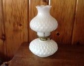 Fenton Oil Lamp Quilted Milk Glass Gorgeous Antique Lighting for Table or Cast Wall Bracket