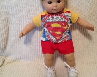15 inch doll (modeled by Bitty Baby)  Racing Car shirt with red shorts
