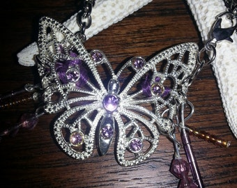 Purple and Silver Butterfly Charm Bracelet