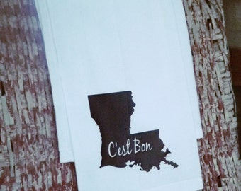 Louisiana C'est Bon Cotton Kitchen/Bar Towel Black/Louisiana Towel/Housewarming Gift/Towel with French Saying