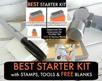 """2.5mm BEST STARTER Combo Kit- 3/32"""" -Includes Uppercase, Lowercase & Number Set-Basic Sets by ImpressArt with Metal Stamping Basic TOOL Kit"""