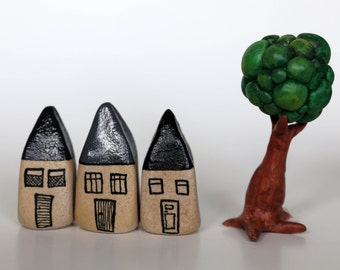 Black and grey miniature houses