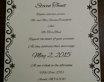 Wedding Invitations with envelopes (Set of 10)