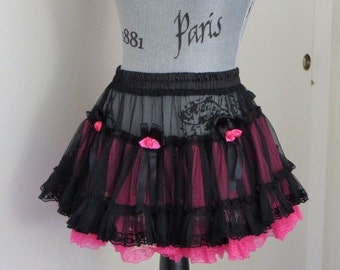 Black and Hot Pink  Rockabilly MINI Tulle TUTU Petticoat - FESTIVAL Skirt - SiZE  Small