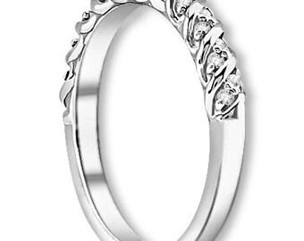 14K White / Yellow / Rose  Gold  Natural Round Diamond Wedding Band  Aniversary Ring ENS4296