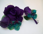 Purple and Teal Silk Wedding, Prom Flowers Corsages and Boutonnieres  2 Piece Set by Van Caron Collection