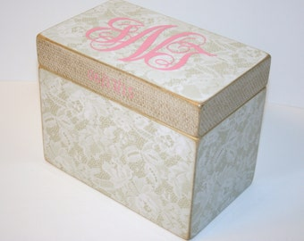 Wedding Guest Book Box, Lace and Linen Box, 4x6 Recipe Organizer, Handmade Wooden Recipe Box, Personalized 4 x 6 Box