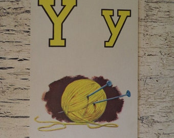 Alphabet Flash Card - Letter Y is for Yarn - 1950s Illustrated School Flash Card