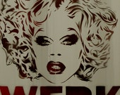 Rupauls Drag Race Painting Rupaul Portrait 11x14 Drag Queen Fashion Illustration Gay Art Graffiti on Canvas Stencil Art Street Art Banksy
