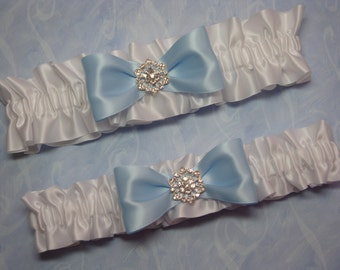 White Satin Garter Set with Large Blue Bow