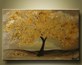 HUGE SALE Original Abstract Golden Tree painting by Kag 2ft x 3ft