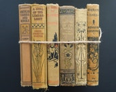 Shabby Antique Book Bundle. Late 1800's. Victorian Library. Shades of Black and Beige. Instant Library.