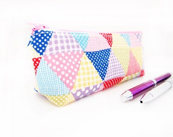 Zippered Pencil Case / Pouch - Colorful Triangles