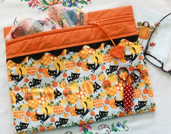 Black Cat in the Pumpkin Patch Cross Stitch, Sewing, Embroidery Project Bag