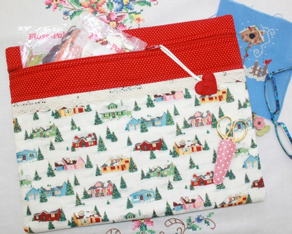 Home For The Holidays Cross Stitch, Sewing, Embroidery Project Bag