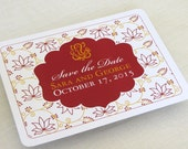 Indian Save the Date Postcard - Ganesh Lotus Floral - Hindu Wedding - SAMPLE