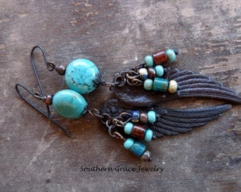 Turquoise and black brass Angel wing earrings, handmade womens jewelry