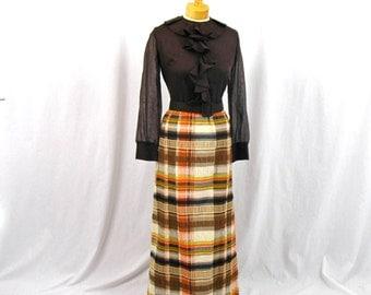 60s  Maxi Dress * Brown Plaid Maxi Dress * 1960s Dress * 60s Dress * Mod Maxi Dress * Mod Dress