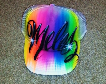 Airbrush Trucker Hat Name And Favorite Colors, Airbrush Trucker Hat, Trucker Hat, Rainbow Hat, Rainbow, Airbrush Hat, Airbrush Cap, Airbrush